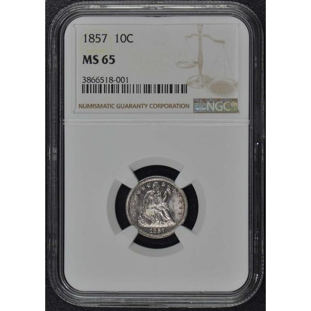 1857 Seated Liberty Dime 10C NGC MS65