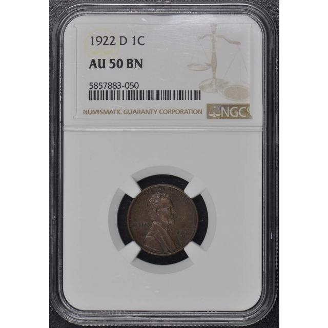 1922-D Wheat Reverse Lincoln Cent 1C NGC AU50BN
