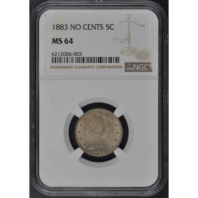 1883 NO CENTS Liberty Nickel 5C NGC MS64
