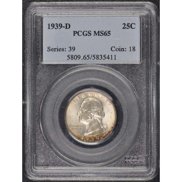 1939-D 25C Washington Quarter PCGS MS65