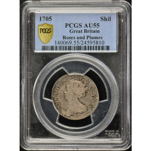 1705 Shil Roses and Plumes Shilling - Anne PCGS AU55 Pop 1/0