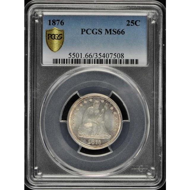 1876 25C Liberty Seated Quarter PCGS MS66