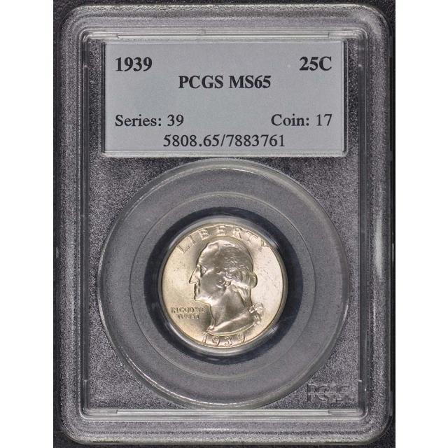 1939 25C Washington Quarter PCGS MS65