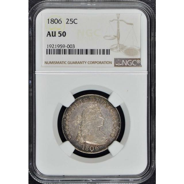 1806 Draped Bust, Large Eagle Quarter 25C NGC AU50