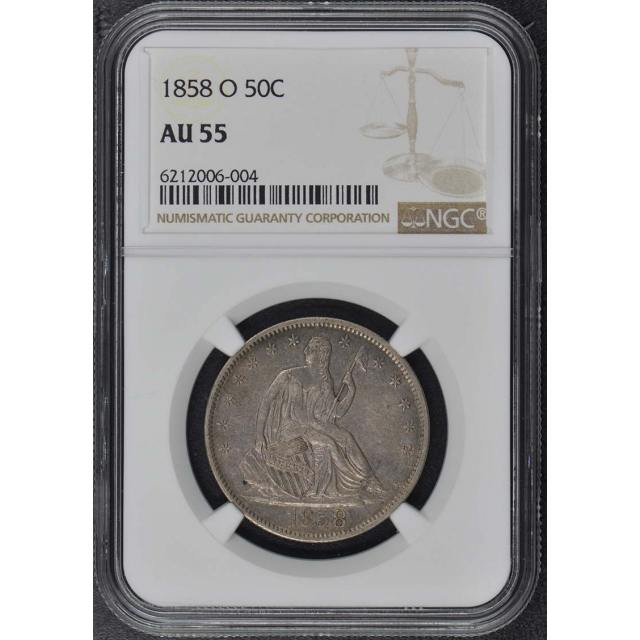 1858 O Seated Liberty Half Dollar - No Motto 50C NGC AU55