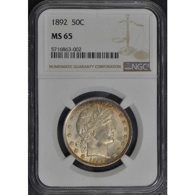 1892 Barber Half Dollar 50C NGC MS65