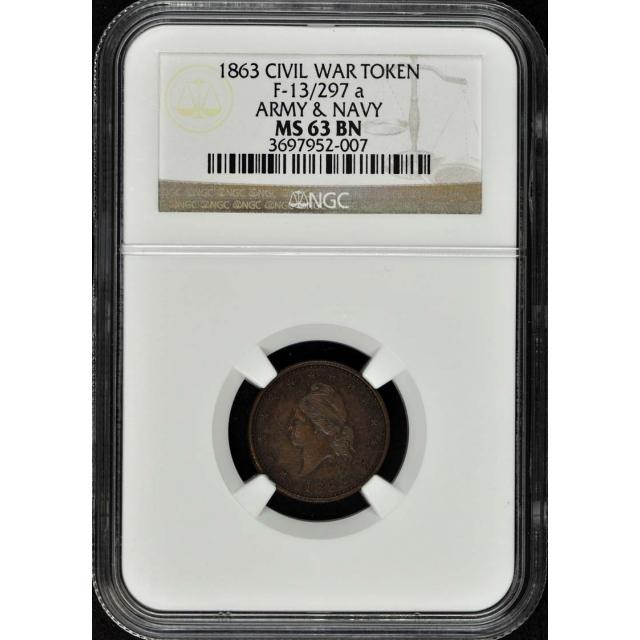 1863 CIVIL WAR F-13/297 a TOKEN NGC MS63BN ( Army & Navy )