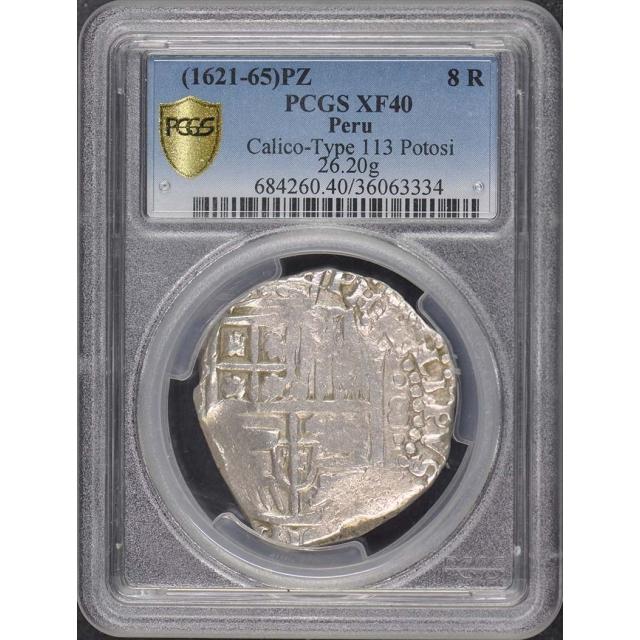 1621-65 PZ Peru 8 Reales PCGS XF40 Calico 113 Potosi