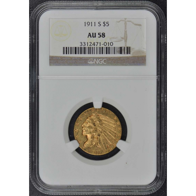 1911-S Indian $5 NGC AU58