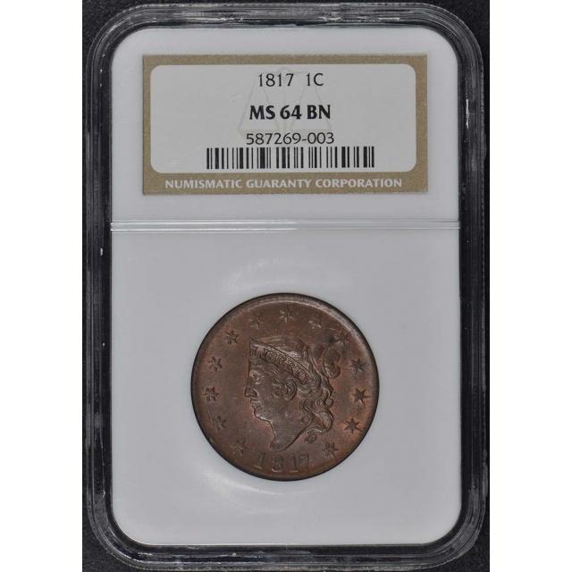 1817 Coronet Cent 1C NGC MS64BN
