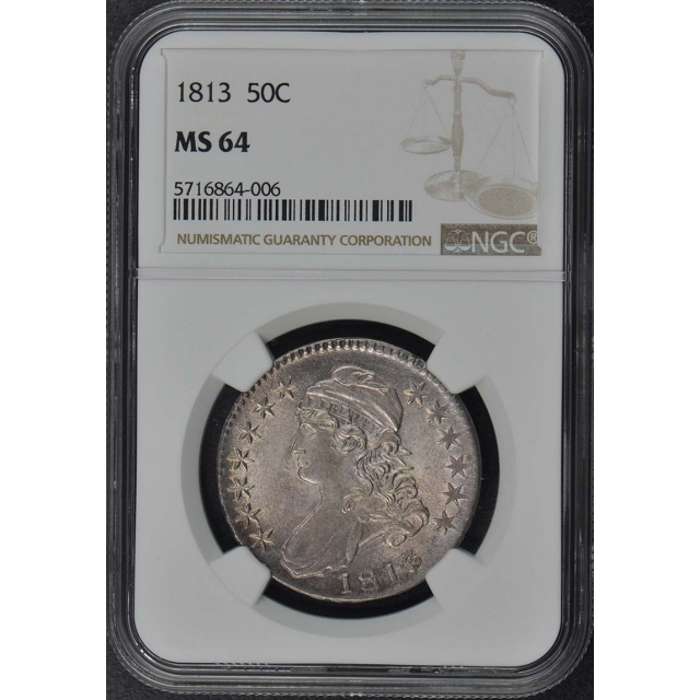1813 Capped Bust, Lettered Edge 50C NGC MS64