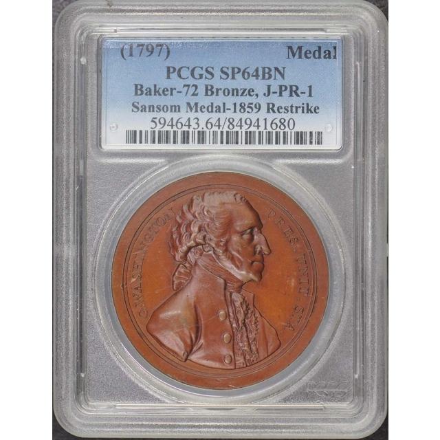 1797 Sansom Medal 1859 RS PCGS SP64BN Baker-72 Bronze