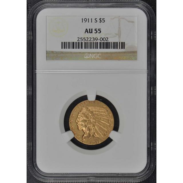 1911-S Indian $5 NGC AU55