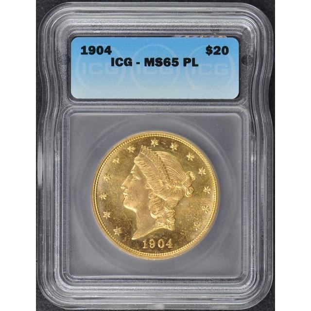 1904 $20 Liberty Head Gold ICG MS65PL