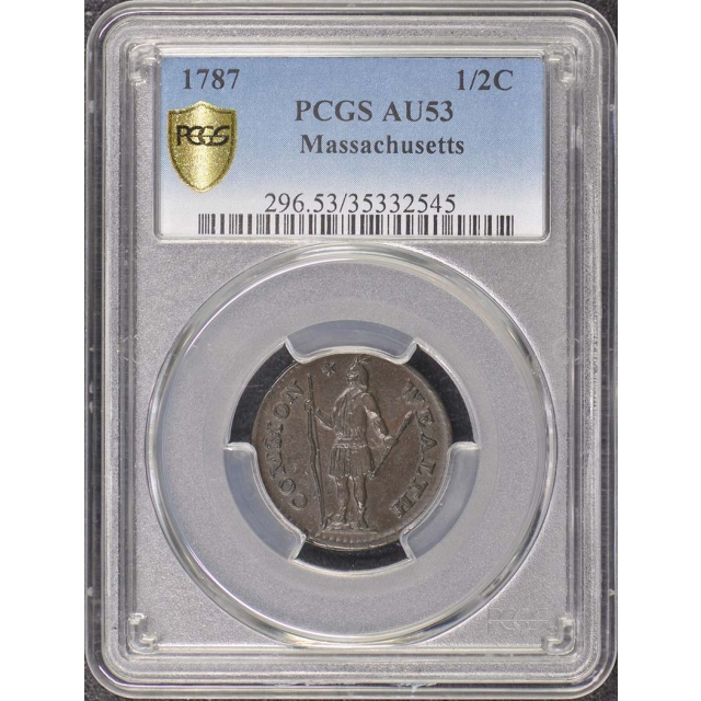1787 1/2C Massachusetts Colonials PCGS AU53BN