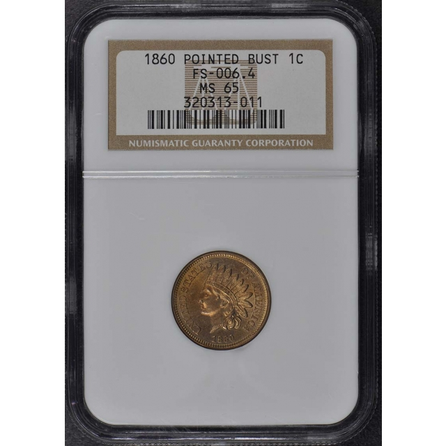1860 POINTED BUST Copper-Nickel Indian Cent 1C NGC MS65