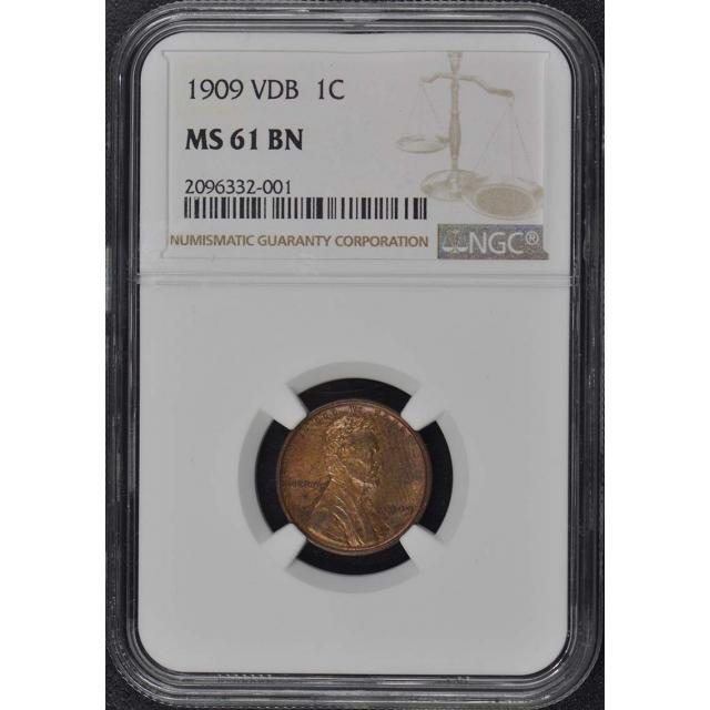 1909 VDB Wheat Reverse Lincoln Cent 1C NGC MS61BN
