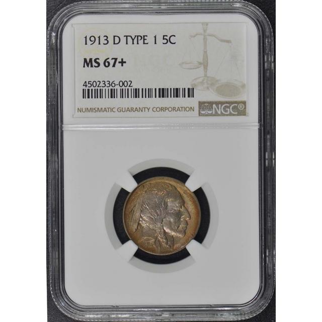 1913-D Buffalo Nickel Type I 5C NGC MS67+