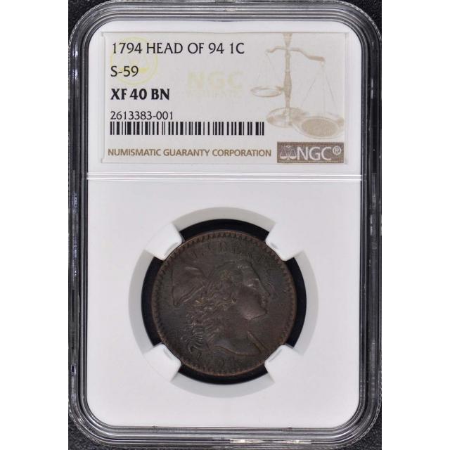 1794 HEAD OF 94 Liberty Cap Cent S-59 1C NGC XF40BN R3