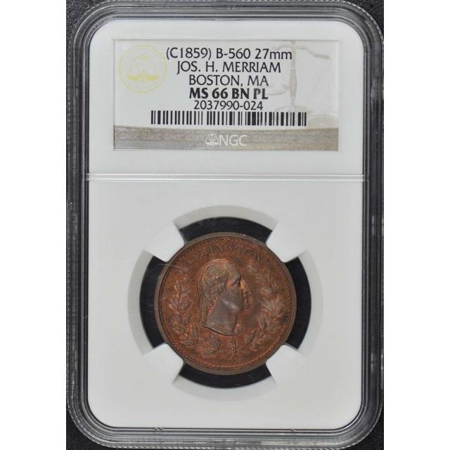1859 Jos. H. Merriam Boston Token NGC MS66BN PL B-560 27mm