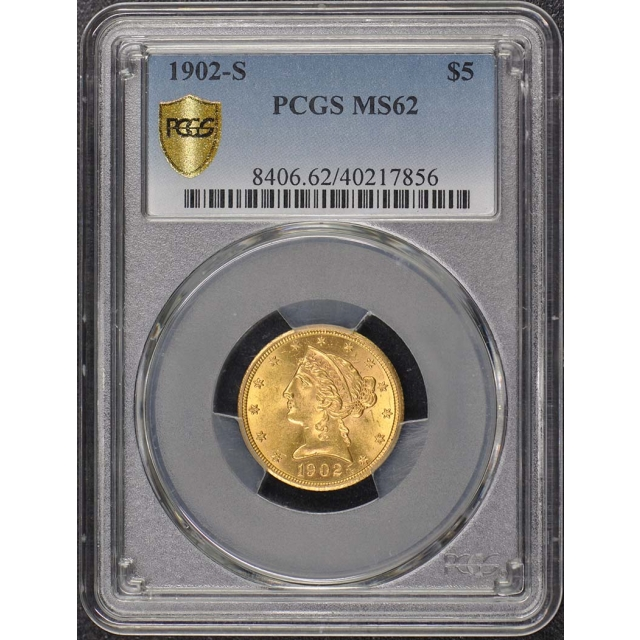 1902-S $5 Liberty Head Half Eagle PCGS MS62