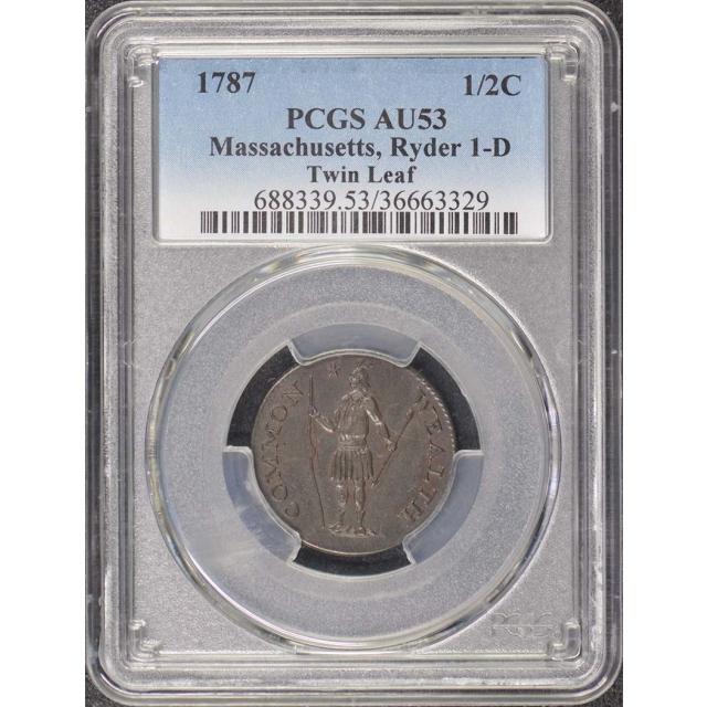 1787 1/2C Massachusetts Colonials Ryder 1-D PCGS AU53BN R4