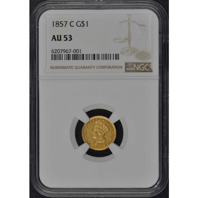 1857-C Gold Dollar - Type 3 G$1 NGC AU53