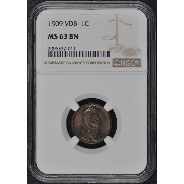 1909 VDB Wheat Reverse Lincoln Cent 1C NGC MS63BN