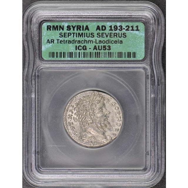 193-211 AD Roman Syria Septimius Severus Tetradrachm ICG AU53