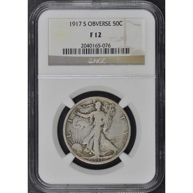1917-S OBVERSE Walking Liberty Half Dollar 50C NGC F12