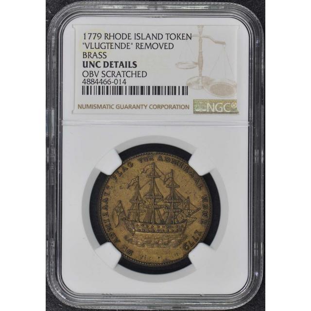 1779 Rhode Island Ship Token Brass Vlugtende NGC Unc Details