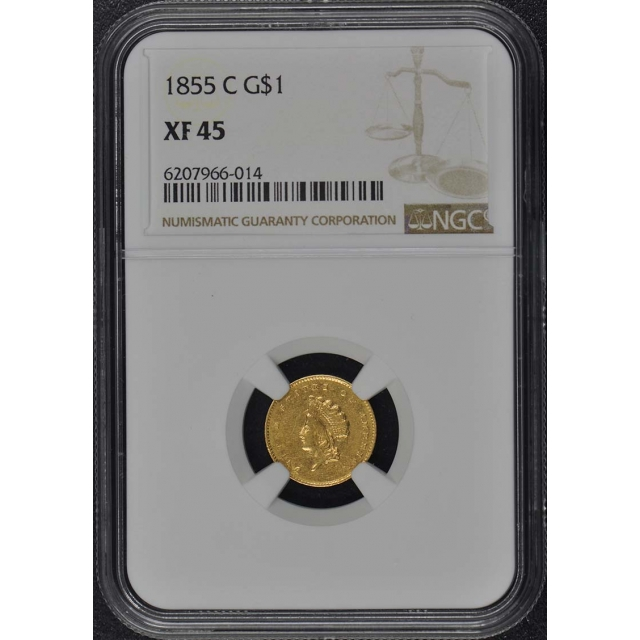 1855-C Gold Dollar - Type 2 G$1 NGC XF45