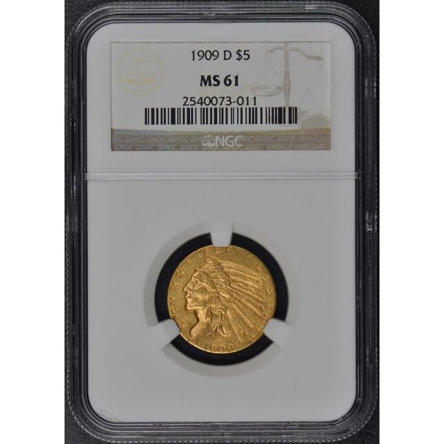 1909-D Indian $5 NGC MS61