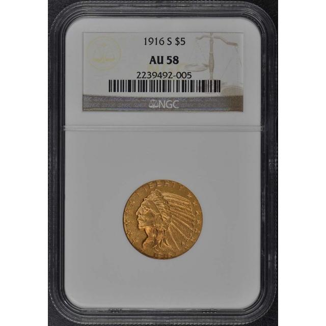 1916-S Indian $5 NGC AU58