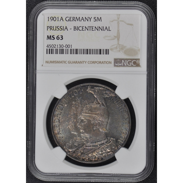 1901A GERMANY PRUSSIA BICENTENNIAL 5M NGC MS63