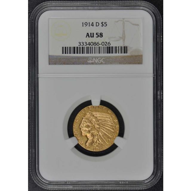 1914-D Indian $5 NGC AU58