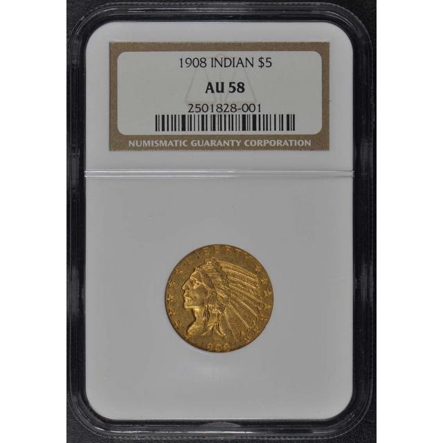 1908 Indian $5 NGC AU58