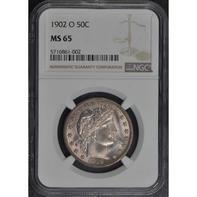 1902-O Barber Half Dollar 50C NGC MS65