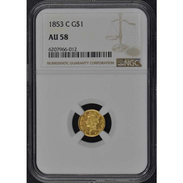 1853-C Gold Dollar - Type 1 G$1 NGC AU58