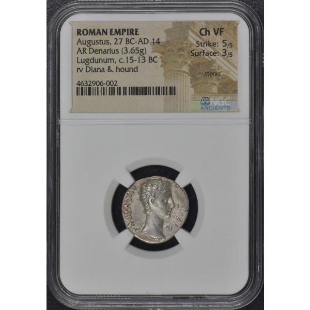 Augustus, 27 BC-AD 14 ROMAN EMPIRE AR Denarius NGC VF30