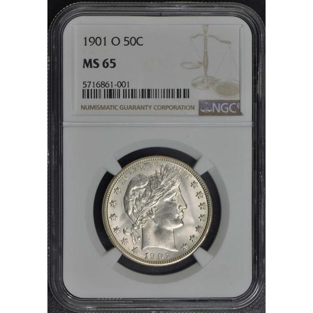 1901-O Barber Half Dollar 50C NGC MS65