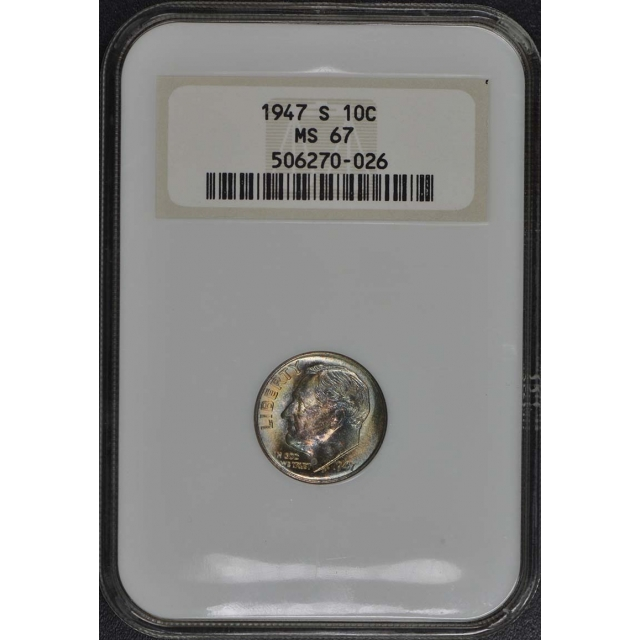 1947 S Roosevelt Dime (Silver) 10C NGC MS67
