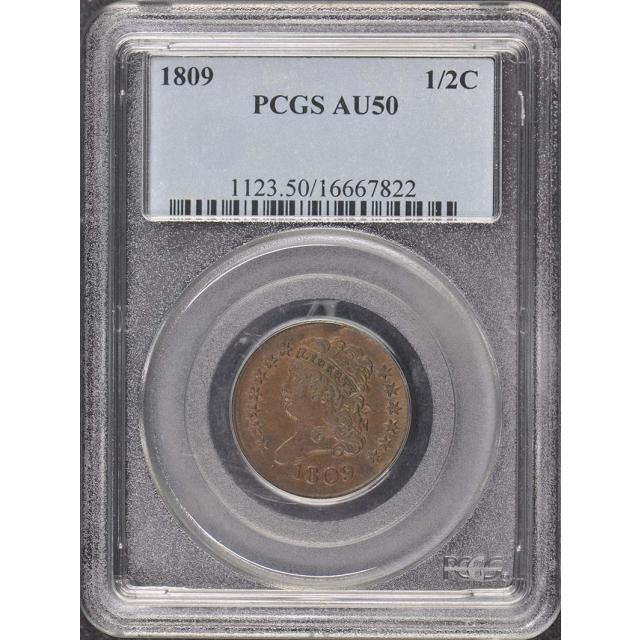 1809 1/2C Classic Head Half Cent PCGS AU50BN