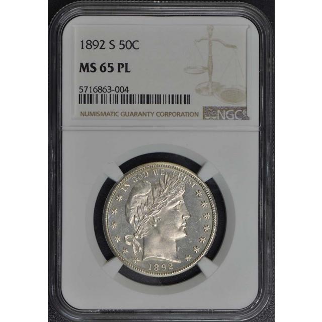 1892-S Barber Half Dollar 50C NGC MS65PL
