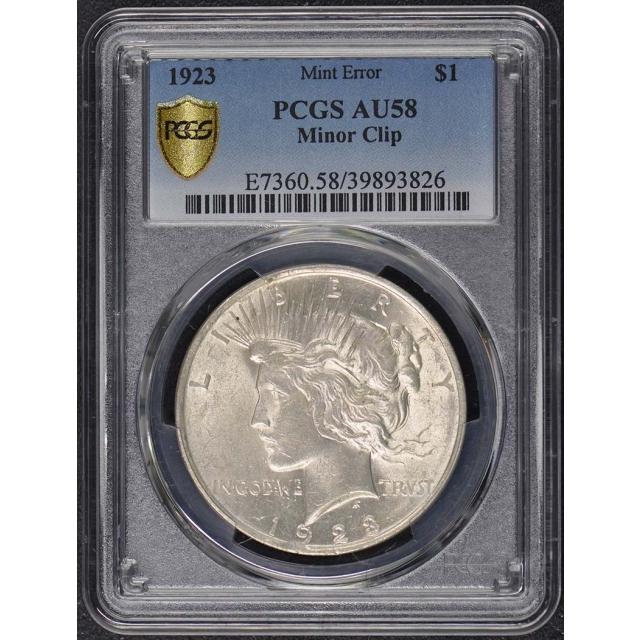 1923 $1 Peace Dollar PCGS AU58 Clipped Planchet