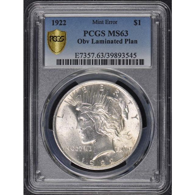 1922 $1 Peace Dollar PCGS MS63 Planchet Lamination Error
