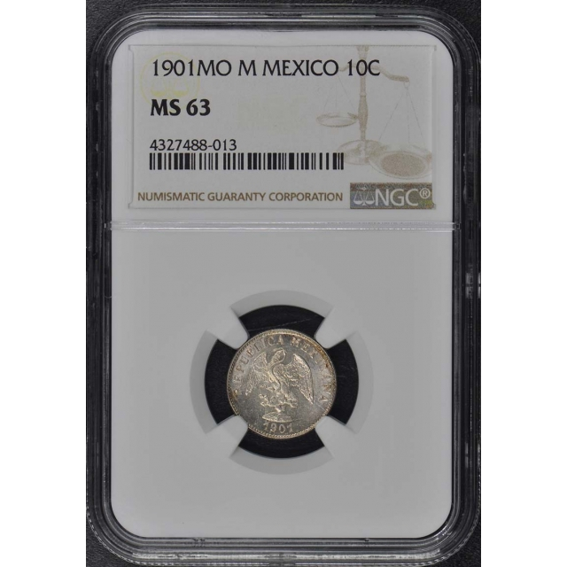 1901MO M MEXICO 10C NGC MS63