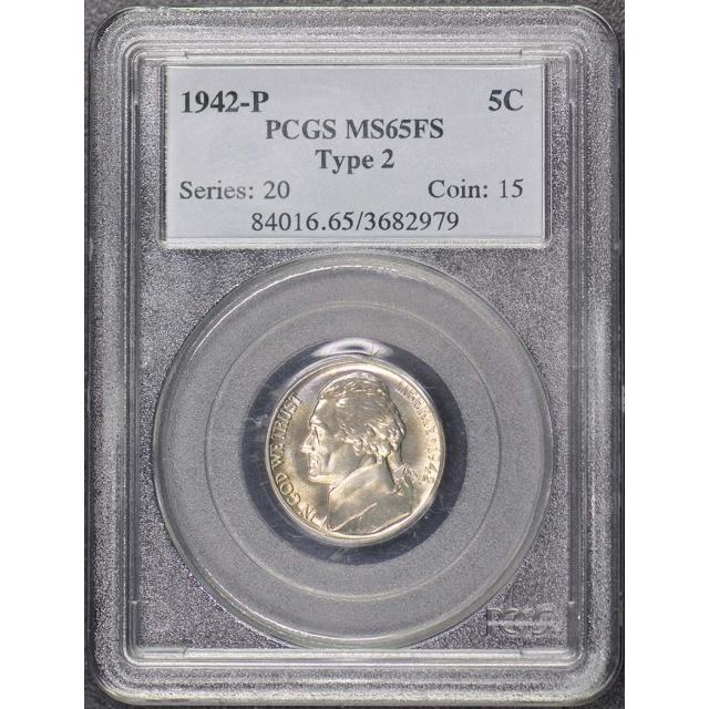 1942-P 5C Type 2 Jefferson Nickel PCGS MS65FS