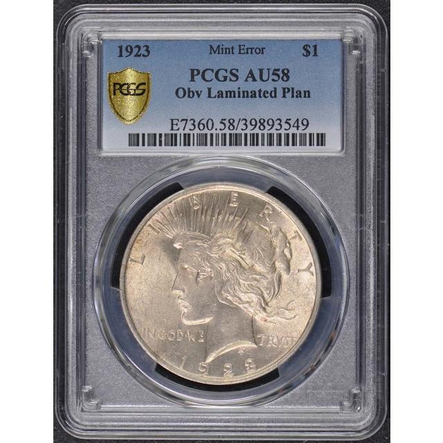 1923 $1 Peace Dollar PCGS AU58 Laminated Planchet Error