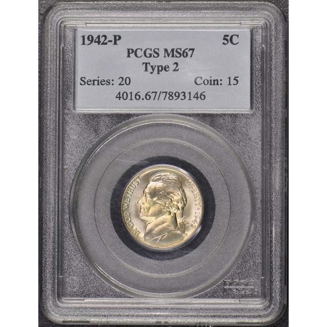 1942-P 5C Type 2 Jefferson Nickel PCGS MS67
